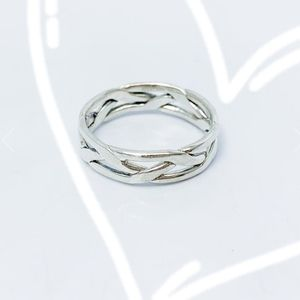 Handwrought Narrow Braided Wire Silver Band Ring